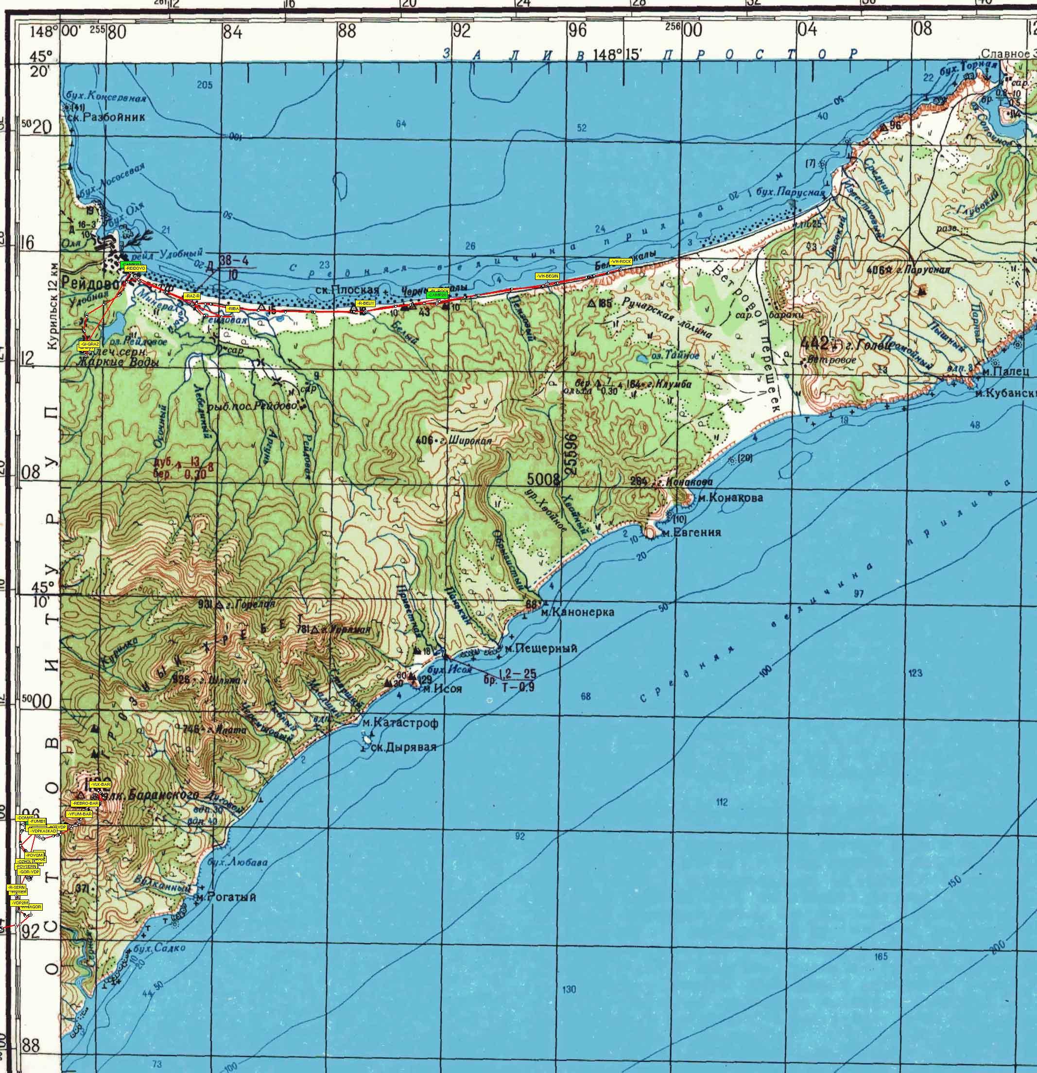 Карта О Итуруп Горячие Ключи